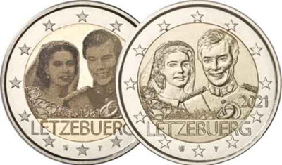 Luksemburg 2 euro 2021.a. Marriage of Grand Duke Henri UNC+PHOTO